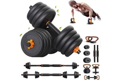 20KG 6-in-1 Dumbbell Kettlebell Barbell Adjustable Weight Set