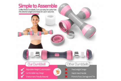 Malaysia Ready Stock ~Adjustable Dumbbell 2 x 2kg tabata aerobics pilates